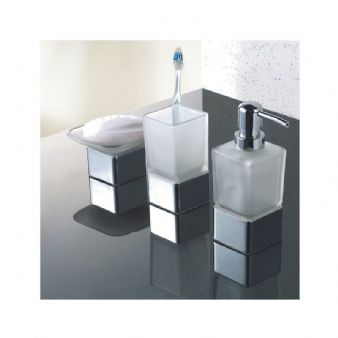 Modern Frosted Glass/Chrome Bathroom Accessories Pack | Soap Dish, Tumbler & Dispenser